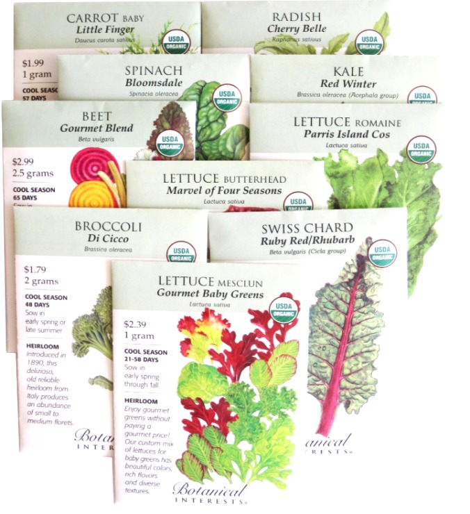 Fall seed packet collection from Botanical Interests.