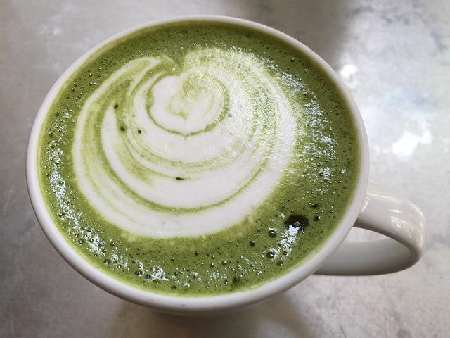 Matcha tea with milk.